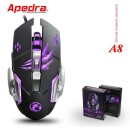 Apedra A8 New Wired Gaming Mouse Professional Macro Program Gamer 6 Buttons USB Optical Computer Game Mice For PC Laptop Desktop